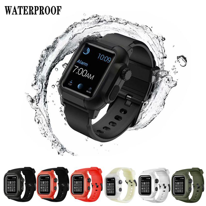 전신 보호 iWatch 시리즈 3 4 5 애플 시계 38/40/42/44 스포츠 실리콘 팔찌 팔찌 스트랩 밴드 방수 케이스