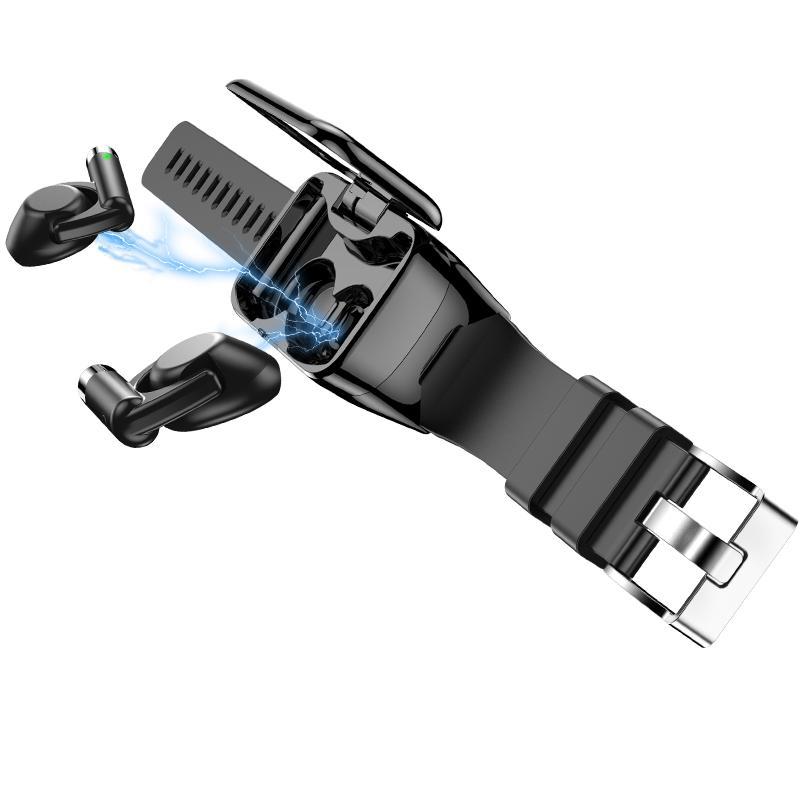 2 في 1 الذكية ووتش M7 TWS سماعات بلوتوث BT5.0 الرياضة الأعمال الاسورة للياقة البدنية المقتفي رصد معدل ضربات القلب سماعات الأذن سوار