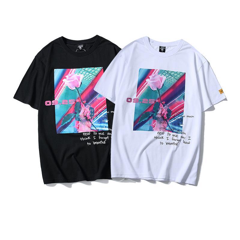 망 여름 디자이너 장미 프린트 티셔츠 패션 streetwear 힙합 티셔츠 남성 캐주얼 짧은 소매 탑 티셔츠 옷