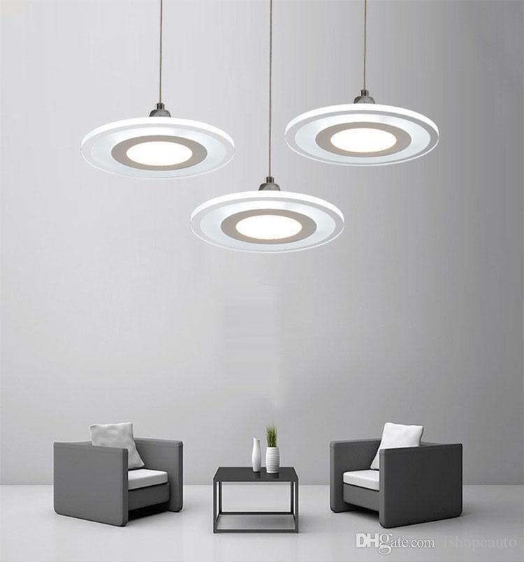 Modern minimalist led avize restoran yatak odası oturma odası yuvarlak akrilik lamba ofis çubuğu avize yaratıcı kolye lamba
