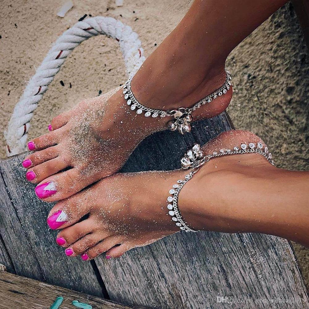 Nuove campane rotonde Boho dei calzini della catena del piede del braccialetto di estate caviglia regalo dei monili di fascino Boemia del calzino nappa Sandali Barefoot Beach piede nuziale