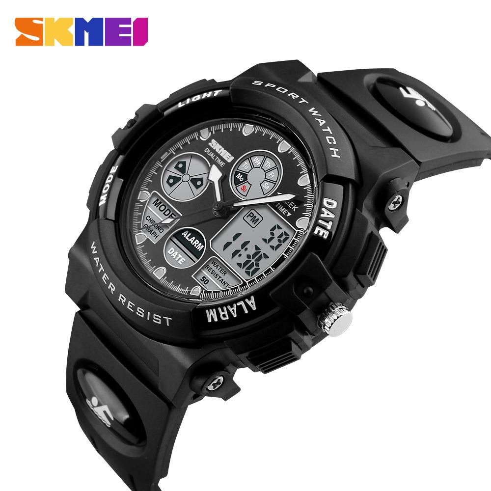 Skmei Sport Kinderuhren Kinder Military Dual Display Armbanduhren Led Wasserdichte Uhr Montre Enfant 1163 J190526