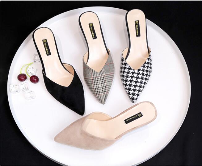 Moda mulas Mujeres Zapatillas Med talón sandalias de verano de deslizamiento en portaobjetos puso zapato ocasional de las mujeres al aire libre del deslizador