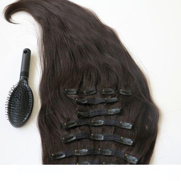 İnsan Saç Uzantıları Brezilyalı Saçın 1b #Off Siyah Remy Düz saç örgüleri 10pcs Set Free Tarak A 220g 20 22inch Klip