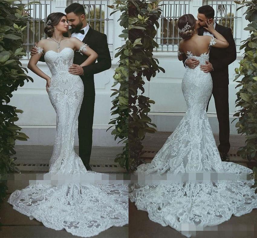 Романтические кружева Русалка Свадебные платья Милая Аппликация невесты Свадебные платья Sexy Backless Поезд стреловидности арабский Vestidos де Novia