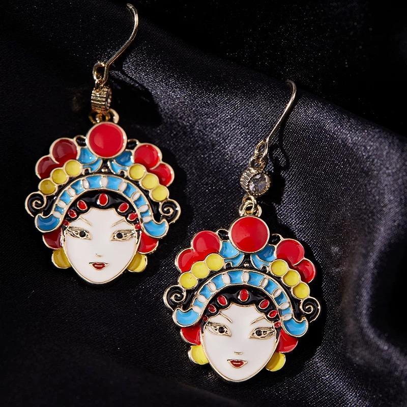 fornecimento primavera moda- edição limitada estilo chinês de jóias festiva brincos casamento Ópera de Pequim máscara de casamento retro brincos limitado