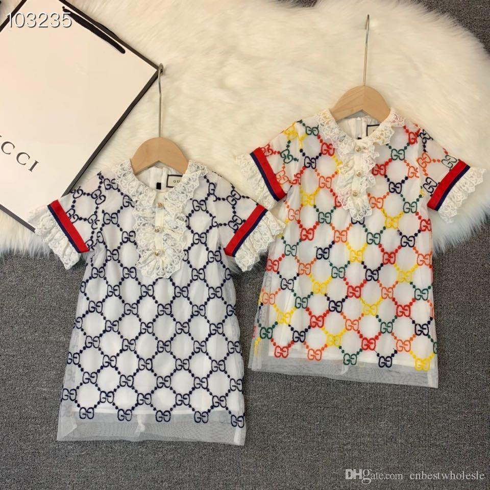 2020 Kindmädchen Sommerspitzekleid Baby gestickten Blumenprinzessin Kleidkinder Kleinkleidung