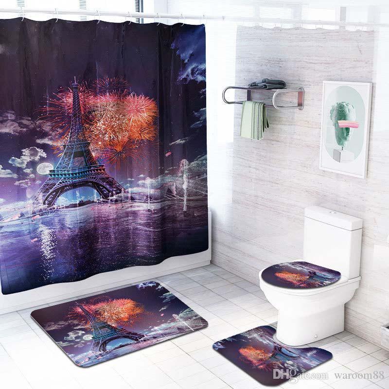 에펠 탑 인쇄 샤워 커튼 화장실 커버 매트 미끄럼 방지 깔개 세트 70.8x70.8 인치 폴리 에스터 섬유 방수 목욕 커튼 12 후크