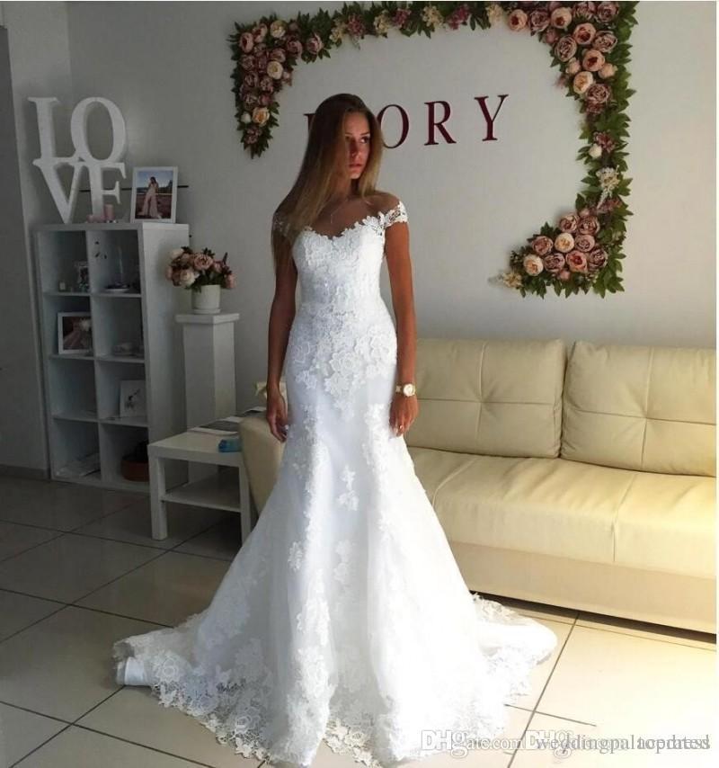 Neue Wunderschöne Elegante Spitze Meerjungfrau Brautkleider Mit Spitze Applique Schulterfrei Brautkleid Maß Brautkleider Vestidos De Noiva