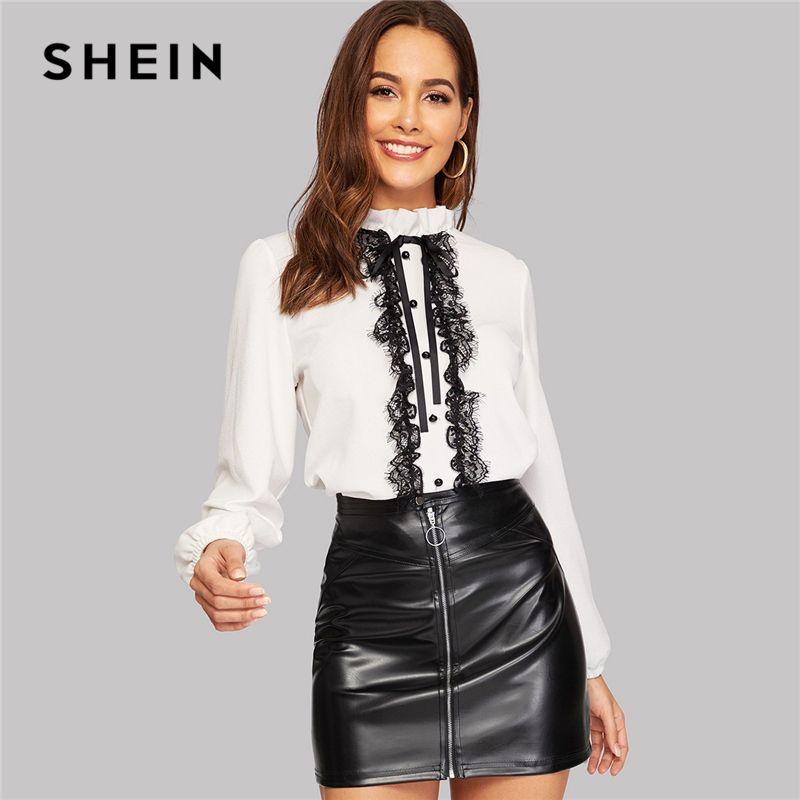 SHEIN blanc Cravate boutonné dentelle Keyhole Retour Chemisier Collier élégant Stand volanté à manches longues Hauts Femmes 2019 Blouses Plaine
