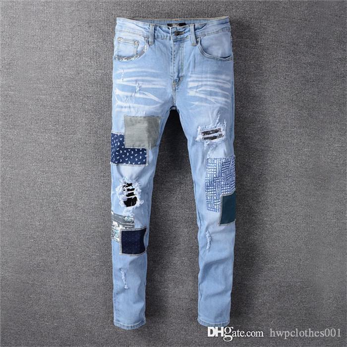 2020 vaqueros para hombre del ajustado para hombre rasgados Biue pantalón negro Hi-Calle apenada dril de algodón Joggers agujeros rodilla pantalones vaqueros Perth vierten Hommes