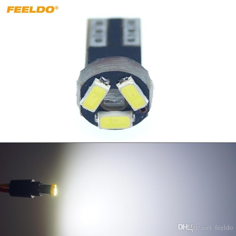 FEELDO 10PCS 화이트 자동차 T5 0.5W 6000K 3SMD 1210/3528 CANBUS 오류 무료 LED 전구 DC12V # 1151