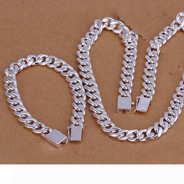 Высокое качество стерлингового серебра 925 пробы ' 10 мм Квартет пряжка боком кусок-мужчины комплект ювелирных изделий DFMSS101 завод прямой 925 silve ожерелье bracele