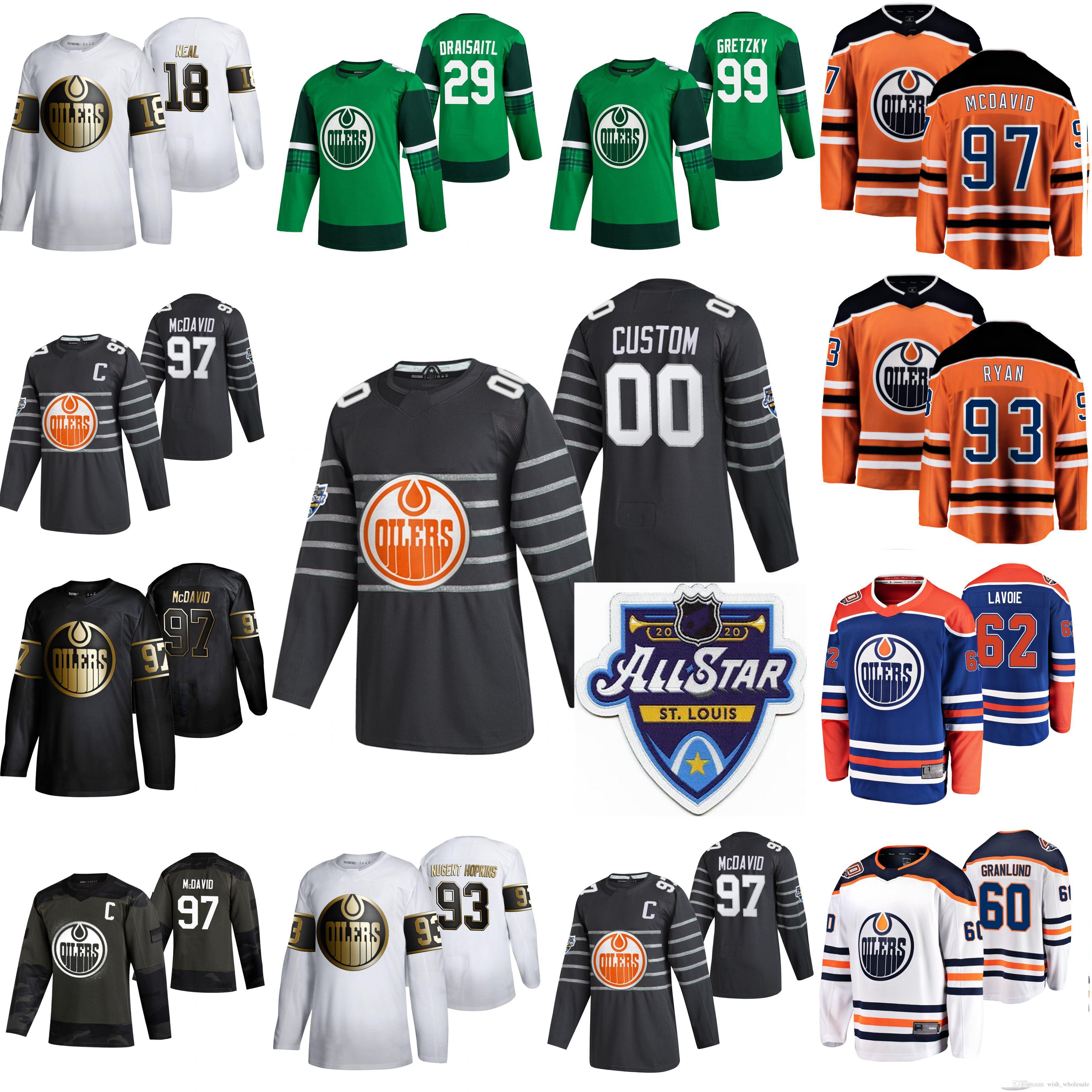2020 Edmonton Oilers Hóquei Jerseys Golden Edition Womens 63 Tyler Ennis 28 Andreas Athanasiou 27 Mike Green Gaetan Haas Zack Kassian