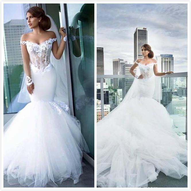 Sereia Rendas 2019 Sexy Vestidos de Casamento Querida Tule Barato Vestidos de Noiva Elegante Tribunal de Vestidos de Casamento Do Trem