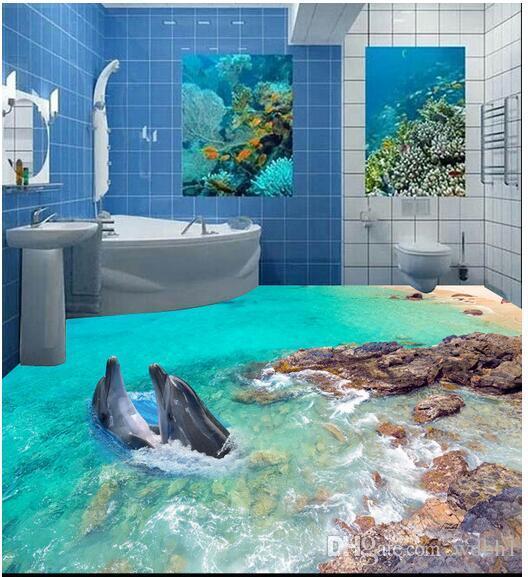 3d pvc flooring custom photo Self-adhesive wall paper Waterproof floor Underwater world dolphin rock 3d wall murals wallpaper for walls 3 d