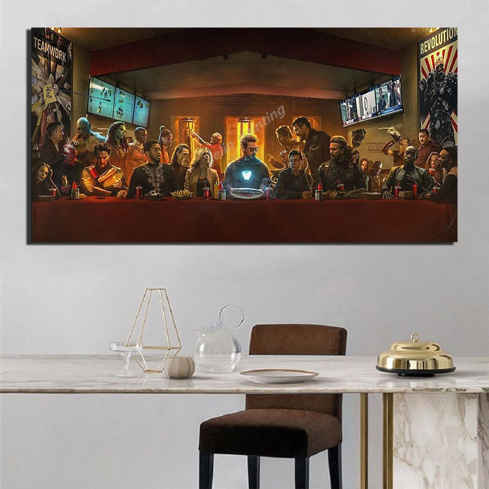 Мстители Бесконечность войны Супергерои вечеря холст картины маслом Печать плаката стены искусства Картина для гостиной Home Decor