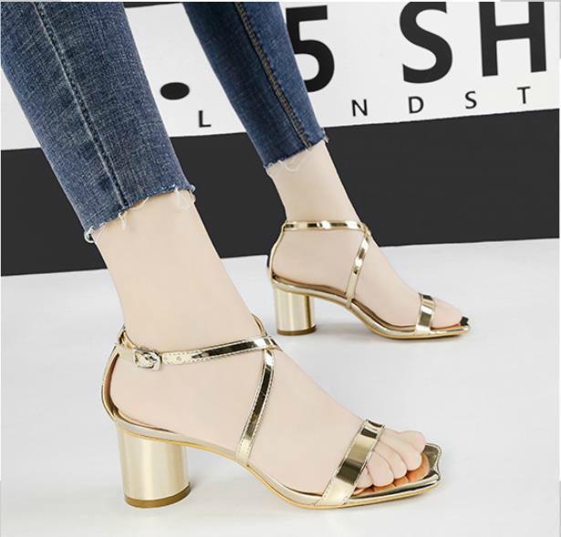 sexy sandalias de tacón grueso atado cruzado moda de verano punta abierta cuero 5.5cm tacones altos zapatos de verano 9 colores