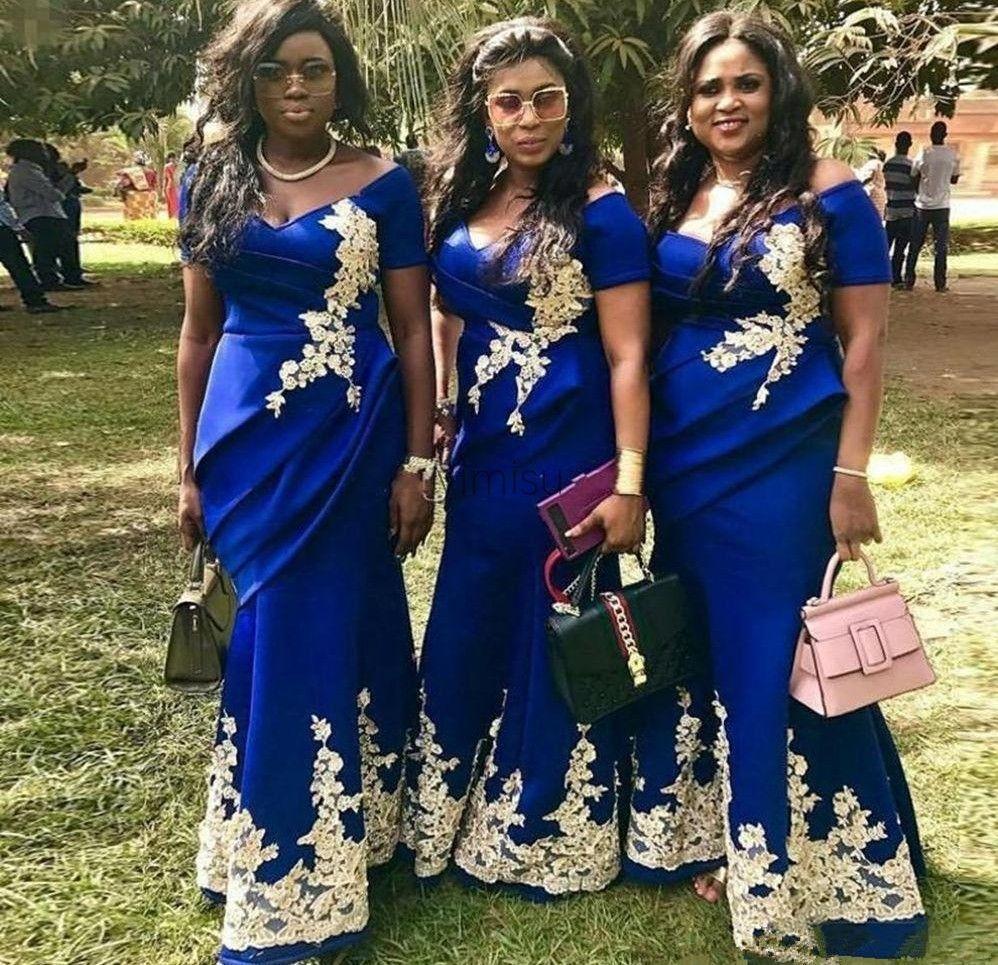 2021 로얄 블루 머메이드 신부 들러리 숄더 짧은 슬리브 드레싱 아플리케 플러스 사이즈 웨딩 게스트 가운의 하녀 명예 드레스