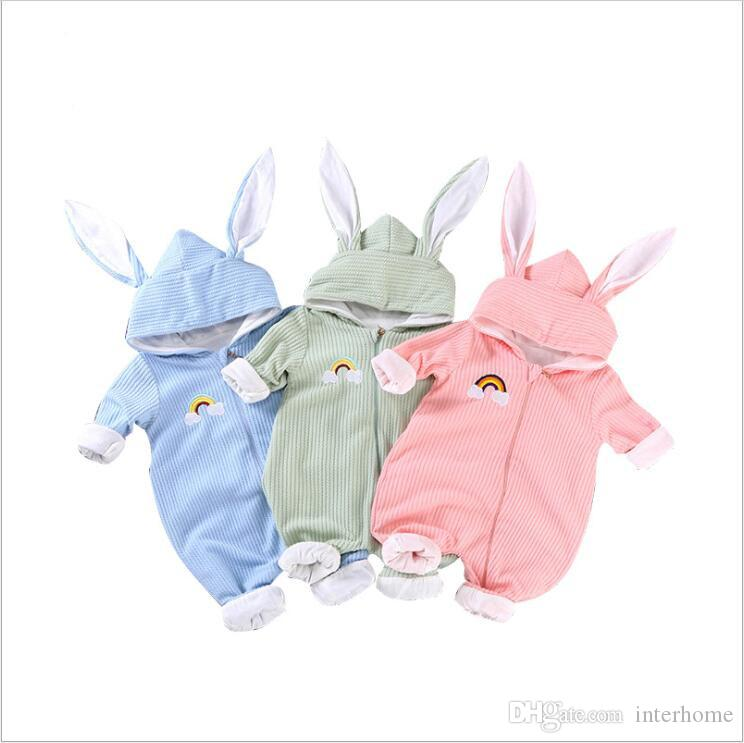 Baby Rompers Boys Hooded Rabbit Ear Jumpsuits Kids Designer Clothes Infant Long Sleeve Bodysuits Cotton Onesie Overalls Climb Clothes B6032