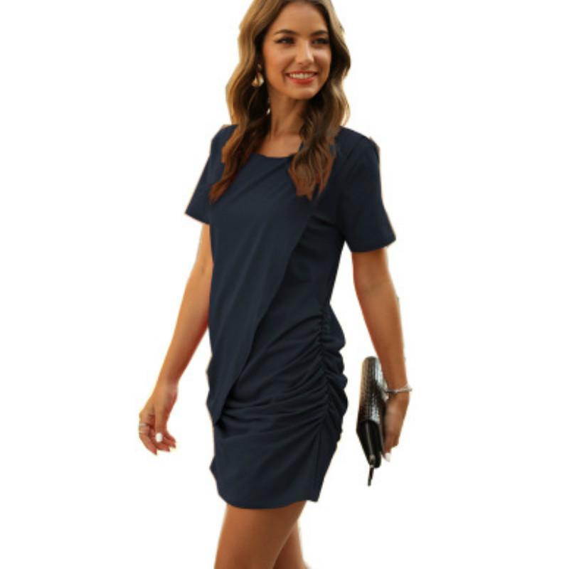 Progettista delle donne Primavera Estate Nuovo pacchetto Hip Dress Ladys marchio solido di colore casuali gonne delle donne del breve manicotto di marca di vestiti 2020 all'ingrosso