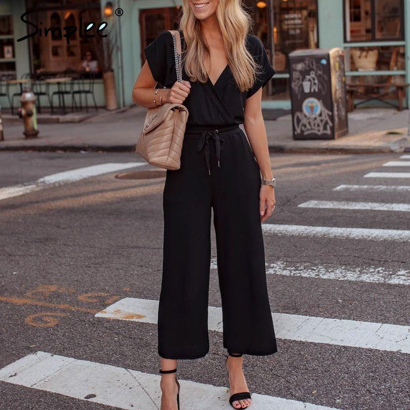 vente en gros sexy manches courtes, plus la taille des femmes combinaison d'été v cou long noir globale Vintage bureau dames solides combinaisons 2019