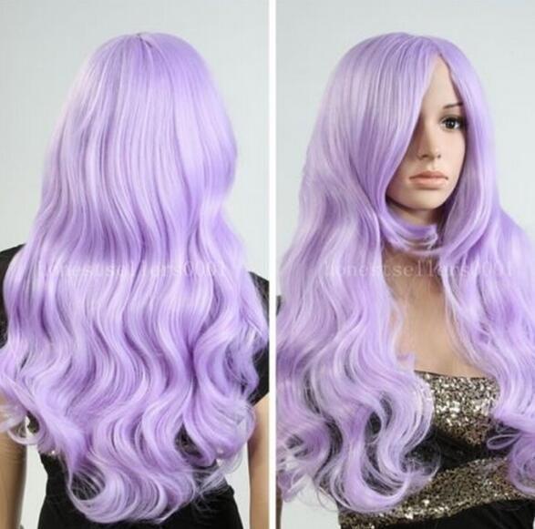 FREE SHIPPIN + + New Fashion parrucca New Charm da donna con lunghe onde viola chiaro Lolita completa