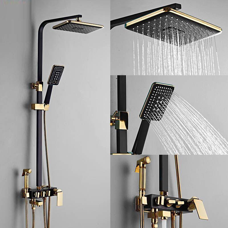 Schwarz Golden Shower Wasserhahn Sets Regendusche Mixer-Set mit Bidet Brausekopf der Wand befestigten Bad Duschsäule Komplettkits