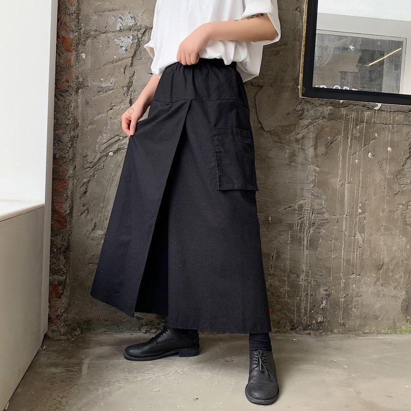 MIXCUBIC estilo 2019 outono Inglaterra únicas falsificados calças dois concepção ampla perna harém homens casual solta homens linho harem pants, S-XL