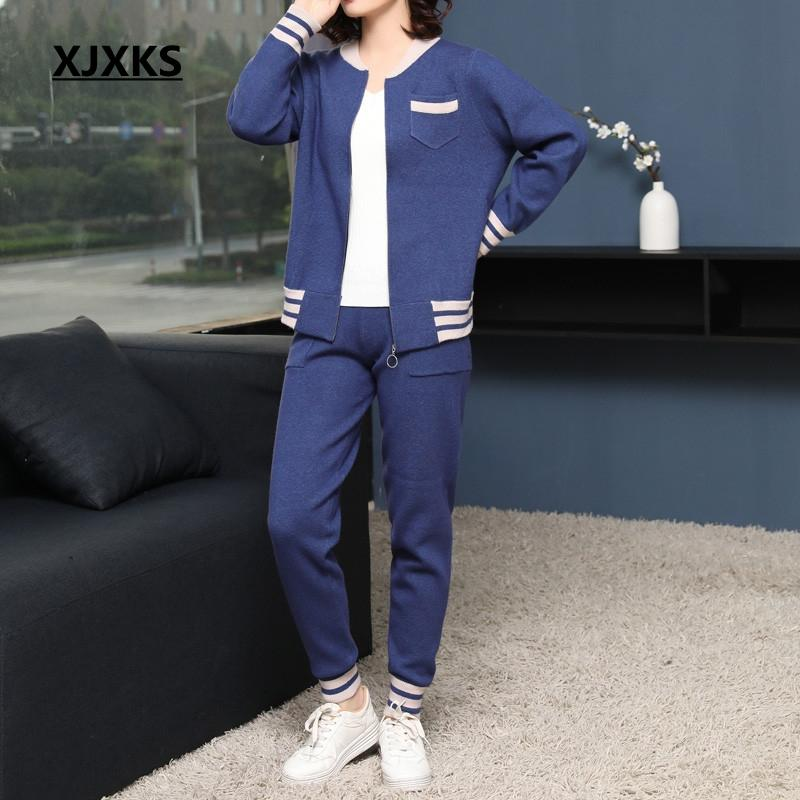 XJXKS Casual striped fashion zipper coat + pant 2019 new arrival ulzzang young ladies women two pieces sweater sets clothing