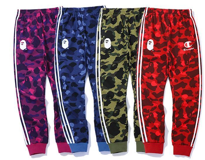 Autumn Streetwear New Hip Hop moda Calças Hit Calças Color Stripes Carta Mulheres Homens elásticas Skate Sweatpants