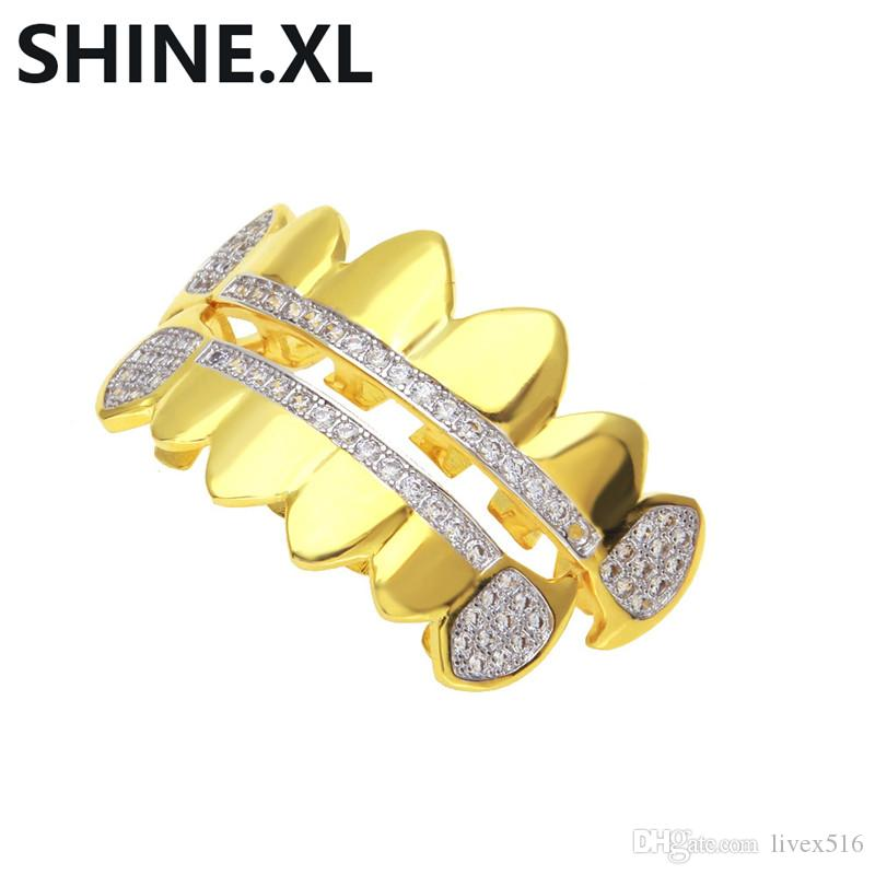 18K Gold Plated Iced Out Zircon Fang Mouth teeth Caps Top & Bottom Tooth Set Men Women Vampire Teeth Fashion Jewelry