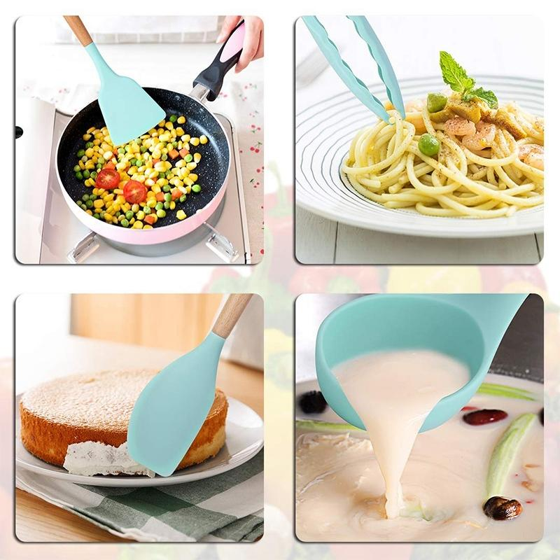 9 Pieces Cooking Tools Set Silicone Kitchen Cooking Utensils Set With Bamboo Holder Turner Tong Spatula Spoon Set Other Kitchen Dining Ba