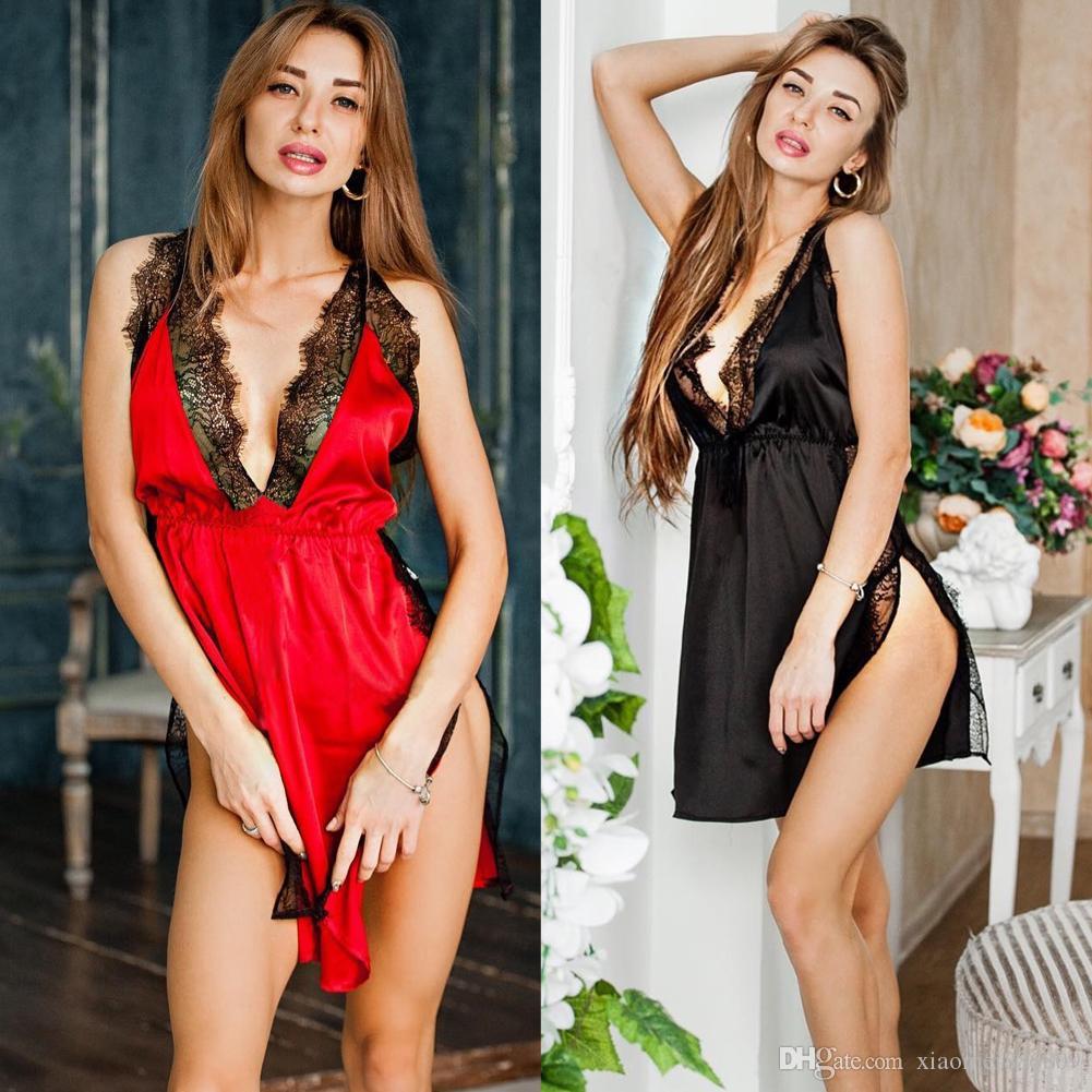 섹시한 란제리 여성 실크 레이스 가운 드레스 베이비 돌 잠옷 나이트 가운 잠옷