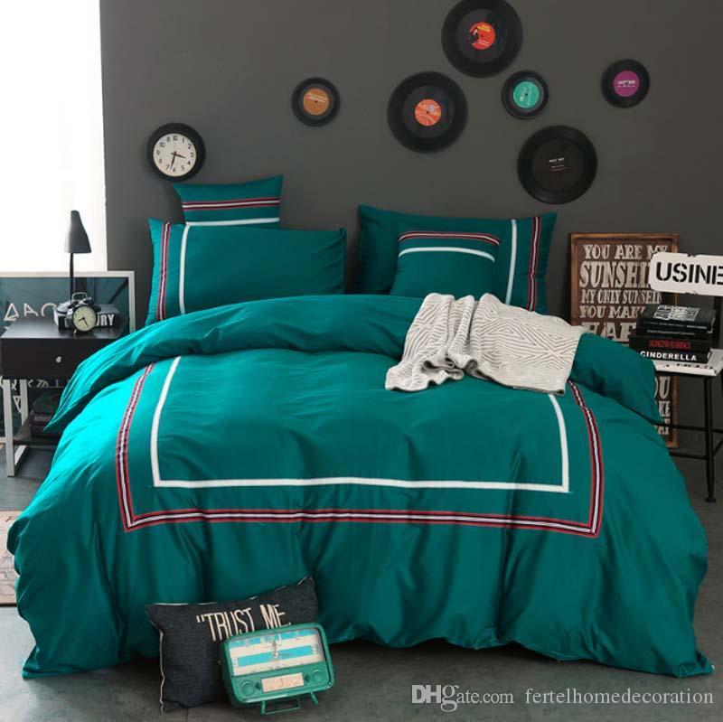 FB18012 más populares ropa de cama de algodón estilo simple europeo establece ninguna bola de algodón sin desvanecimiento funda de edredón sábana de algodón textil hogar 4pcs / set