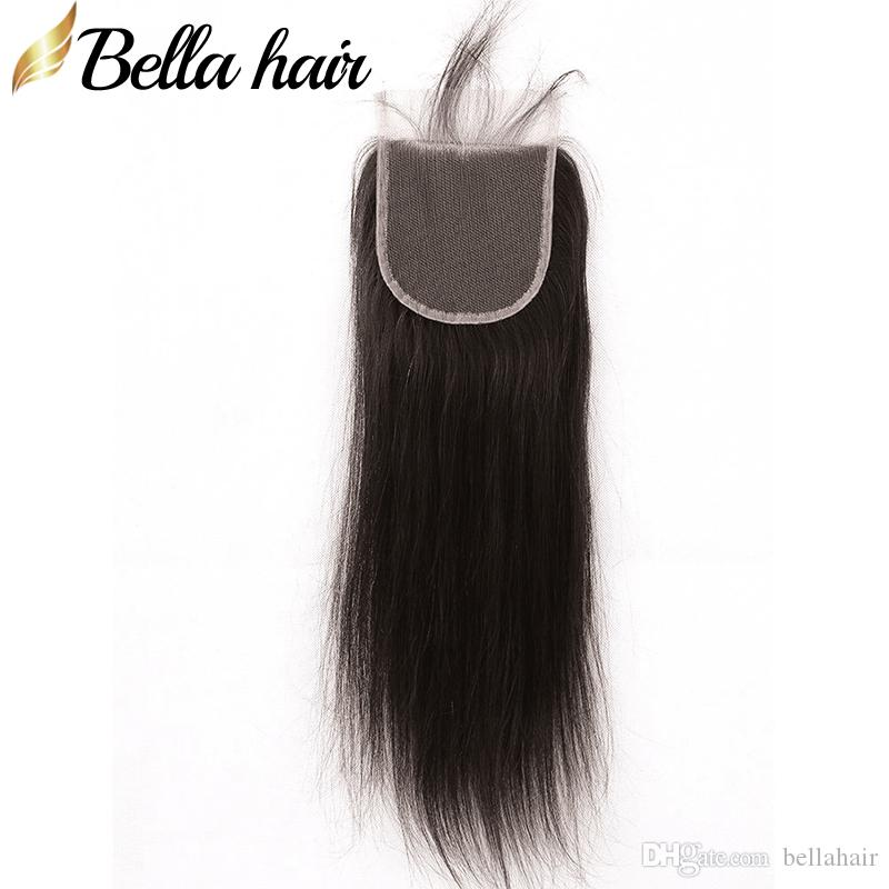 Gratis del hår stängningar Indiska Malaysiska Peruanska Brasilianska Virgin Hair Closure (4x4) Straight Weave Top Stänger Gratis frakt Bellahair