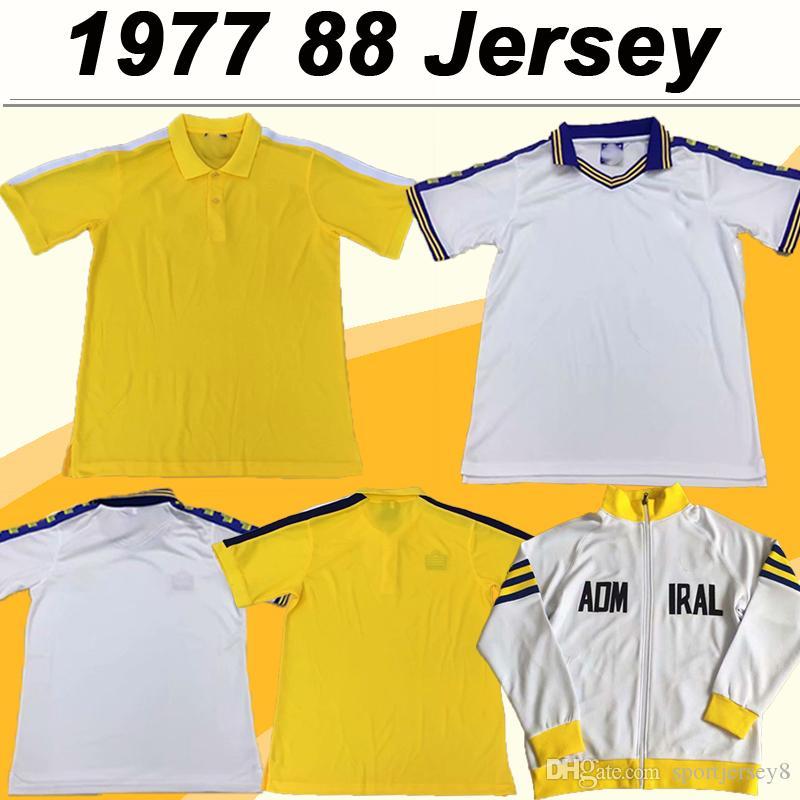 1978 78 Лидс Юнайтед RETRO Mens футбол Джерси Главная White Away Желтый с коротким рукавом рубашки футбола 1978 взрослых куртка с длинным форменная