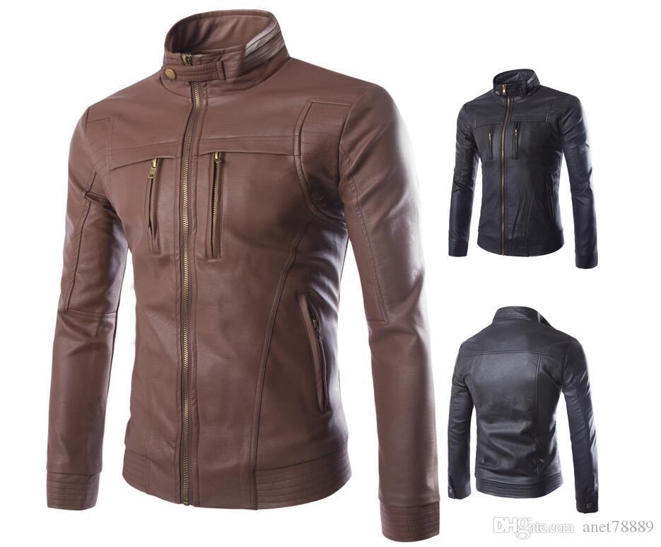 New Arrival Men's clothing jackets Designer PU Leather coats Outerwear luxury male motorcycle windbreaker Coats