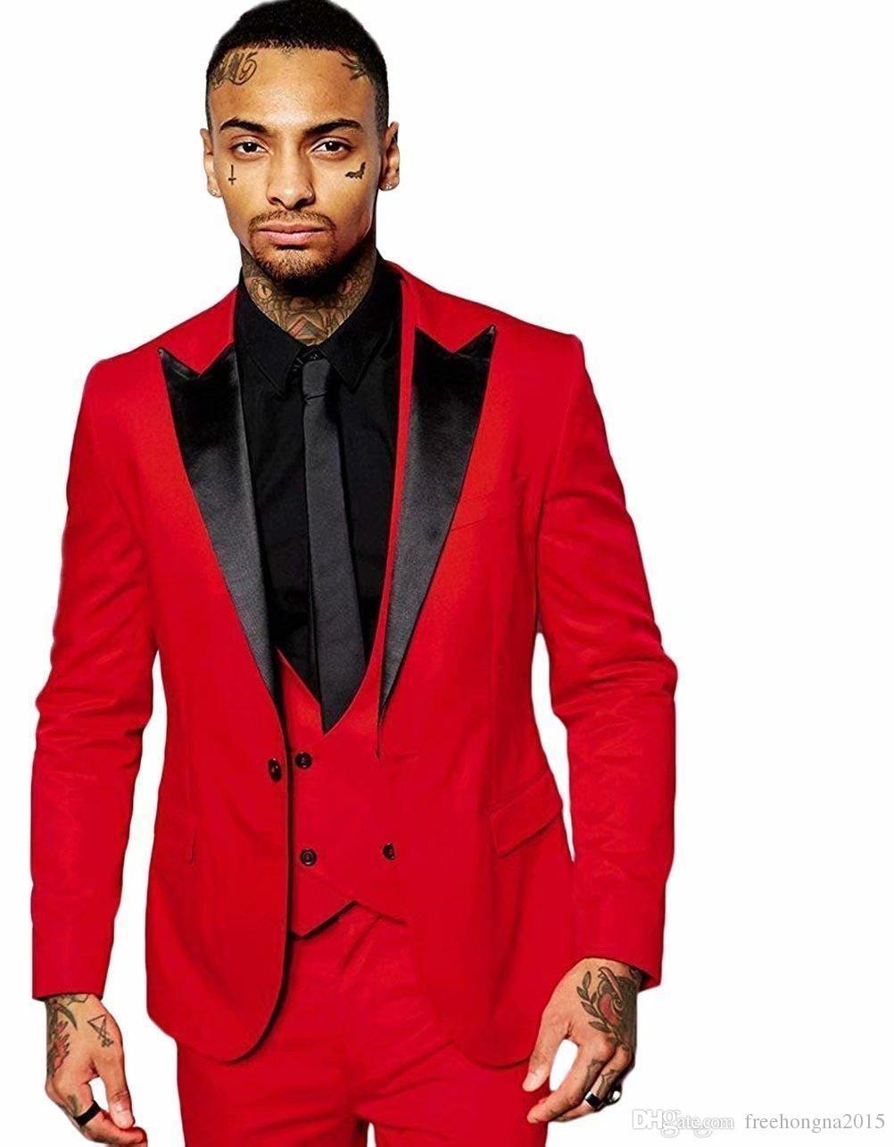 Мода Slim Fit Красный Жених Смокинги Черный Пик Отворот Groomsmen Мужская Свадебное Платье Отличный Мужской Пиджак Пиджак Костюм 3 Шт. (Куртка + Брюки + Жилет)