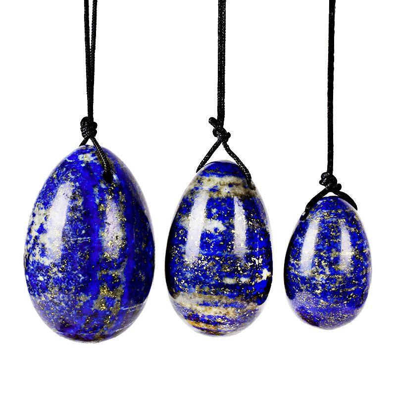 Натуральный кристаллический кварц Лазурит Йони Яйца для женщины Вагина Исцеление Массаж Кристалл Natural Power Stone Йони Egg Sex Toy