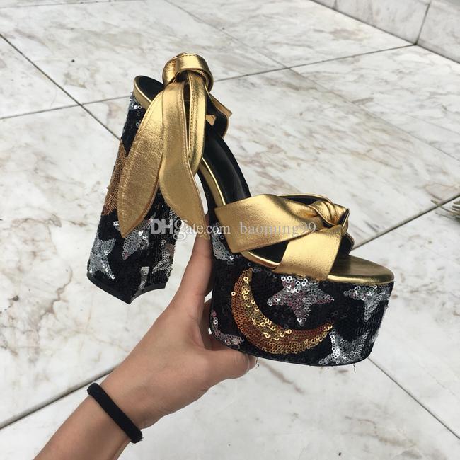Новый дизайнер Tribute Патентный из мягкой кожи платформы сандалии высокой пятки шпильках сандалии T-ремешок Леди Люкс Ремешки обувь Насосы 14.5cm BOX