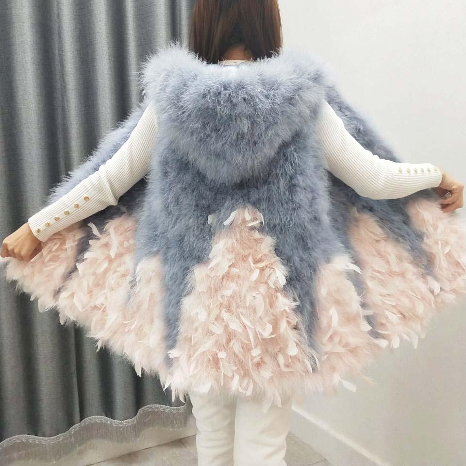 Women spring and autumn ostrich feather vest expansion bottom medium-long fur small fresh turkey feather hooded waistcoat