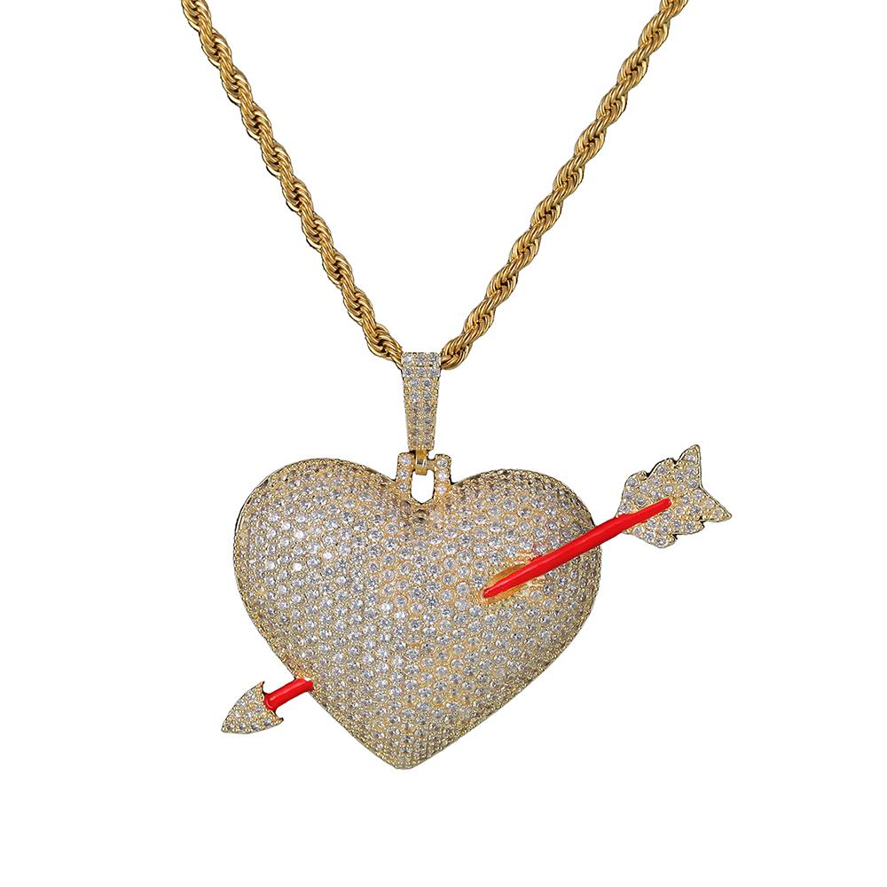 Key4fashion 2019 Iced out Arrow Through Heart Necklace Pendant With Rope Chain Gold Color Bling Cubic Zircon Men's Hip hop Jewelry For Gift