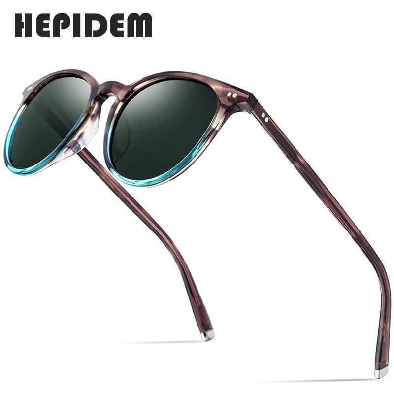 HEPIDEM óculos polarizados Clássica Marca Designer Gregory Peck Vintage Homens Mulheres Round Sun Glasses 100% UV400 5288 9122