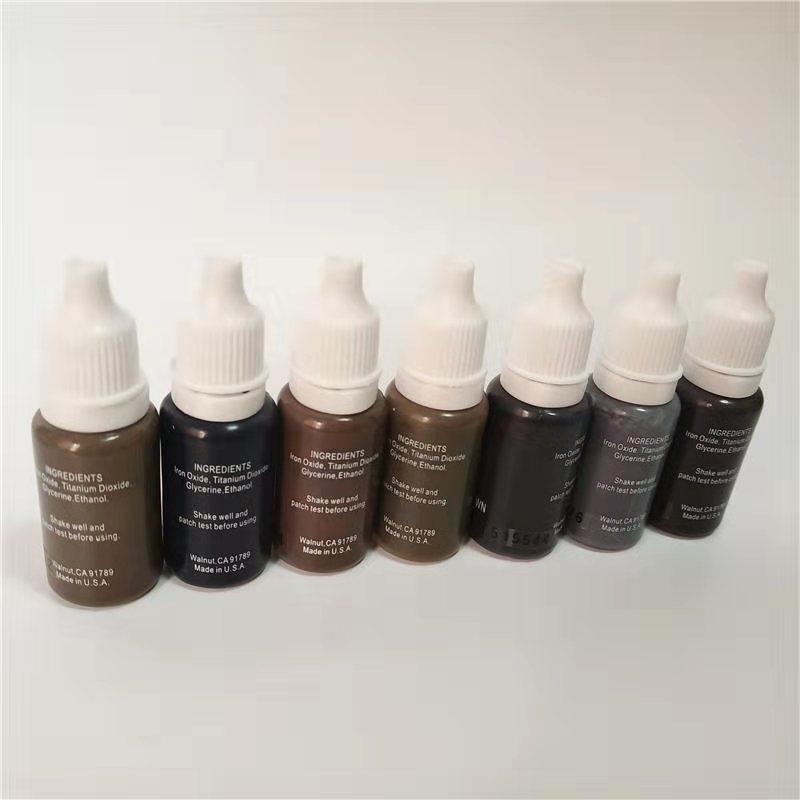 7PCS دائم ماكياج الصباغ حبر الوشم micropigment 15ML / زجاجة مستحضرات التجميل اليدوي الحاجب أسود اللون البني مزيج