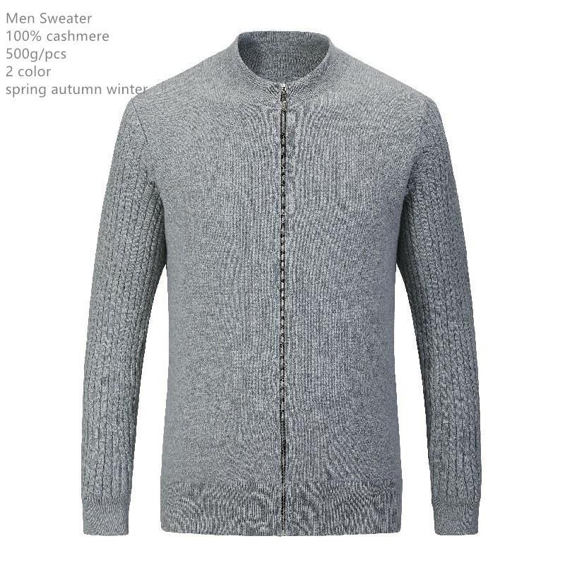 naizaiga 100% кашемир молния мужчину зимнее пальто серого черные моды теплых пуловеры отец свитер, MPSM312