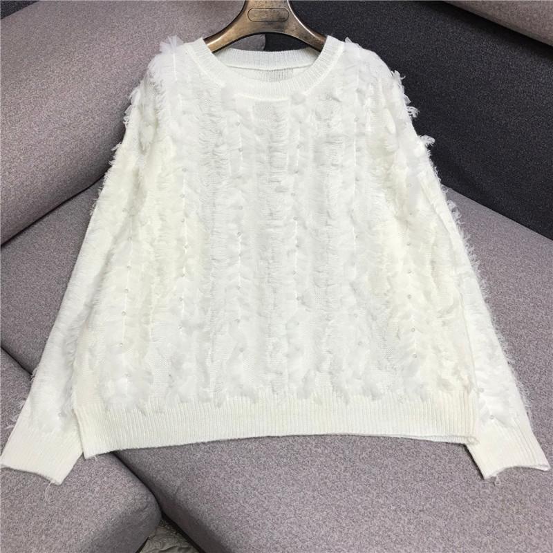 Women's stitching mesh knit sweater 2020 new style round neck flash diamond beaded loose sweater