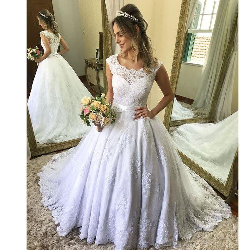 Plus Size Lace Appliques Ball Gown Chapel Wedding Dresses Scoop Neck Bow Tie Bridal Dress Sweep Train Country Bridal Gowns vestido de novia