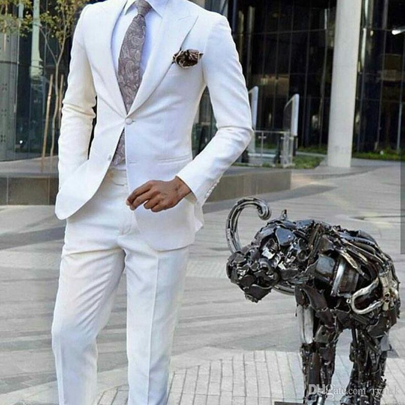 Ivory Man Attire Groom Tuxedos Mens Wedding Suits Peaked Designs Groomsmen Blazer 2Piece Costume Homme Mariage Evening Party Terno Masculino