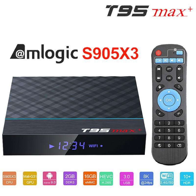T95 MAX + AMLOGIC S905X3 Android 9.0 TV Box 4GB 64GB 32GB 2.4G5G WIFI 4K 8K 24FPS مجموعة Topbox